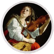 Young Woman With A Violin Round Beach Towel