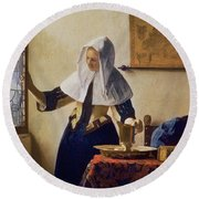 Young Woman With A Water Jug Round Beach Towel by Jan Vermeer