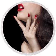 Young Woman With Red Lipstick Sensual Closeup Of Mouth Round Beach Towel