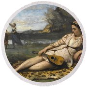 Young Women Of Sparta By Jean-baptiste-camille Corot, 1868-1870. Round Beach Towel