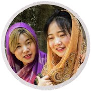 Young Women Silk Scarves 01 Round Beach Towel