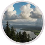 Youngs Bay And Clouds Round Beach Towel
