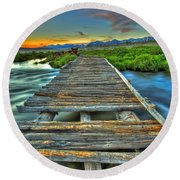 Your Path Lies Before You Round Beach Towel