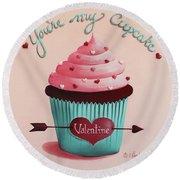 You're My Cupcake Valentine Round Beach Towel