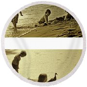 Youth At The Water Round Beach Towel