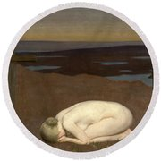 Youth Mourning Round Beach Towel