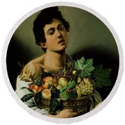Youth With A Basket Of Fruit Round Beach Towel by Michelangelo Merisi da Caravaggio