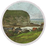 Yport And The Falaise D'aval Round Beach Towel