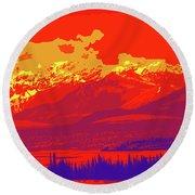 Yukon Mountain Range 4 Round Beach Towel