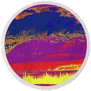 Yukon Mountain Range 7 Round Beach Towel