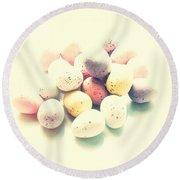 Yummy Mini Eggs Round Beach Towel