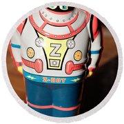Z-bot Robot Toy Round Beach Towel