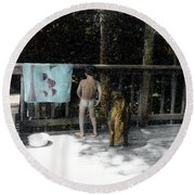 Zach And Jack  Round Beach Towel by Wayne King