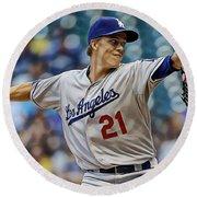 Zack Greinke Los Angeles Dodgers Round Beach Towel