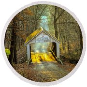 Zacke Cox Covered Bridge Round Beach Towel