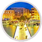 Zadar Colorful Blue Evening View Round Beach Towel