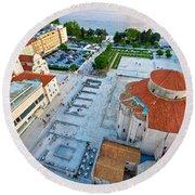 Zadar Forum Square Ancient Architecture Aerial View Round Beach Towel