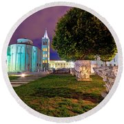 Zadar Historic Square Evening View Round Beach Towel