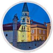 Zadar Landmarks Evening Vertical View Round Beach Towel