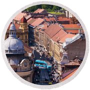 Zagreb Afternoon Round Beach Towel