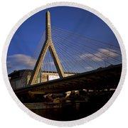 Zakim Bridge And Boston Garden At Sunset Round Beach Towel