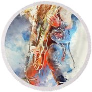 Zakk Wylde - Watercolor 09 Round Beach Towel
