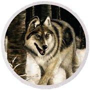 Zane Gray Wolf Round Beach Towel
