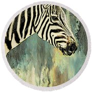 Zebra Abstracts Too Round Beach Towel