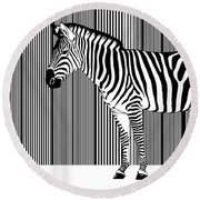 Zebra Barcode Round Beach Towel