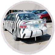 Zebra Car Rear Round Beach Towel