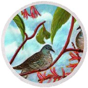 Zebra Doves Or Barred Dove Birds #309 Round Beach Towel