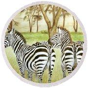 Zebra Pals Round Beach Towel