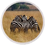 Zebra Protect Each Other Round Beach Towel