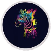 Zebra Splatters Round Beach Towel