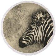 Zebra Study Round Beach Towel