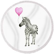 Zebra Watercolor Whimsical Animal With Balloon Round Beach Towel by Olga Shvartsur