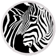 Zebra Works Round Beach Towel