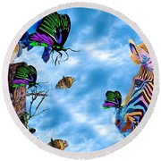 Zebras Birds And Butterflies Good Morning My Friends Round Beach Towel