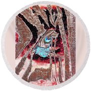 Zebras Eye - Abstract Art Round Beach Towel
