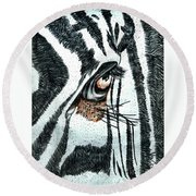 Zebras Eye - Colored Pencil Art  Round Beach Towel