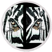 Zebras Eye - Studio Abstract  Round Beach Towel