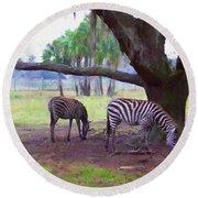 Zebras Under Oaks Round Beach Towel