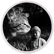 Zen Cat Black And White- Photography By Linda Woods Round Beach Towel
