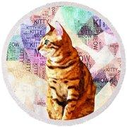 Zen Cat Round Beach Towel
