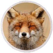 Zen Fox Red Fox Portrait Round Beach Towel