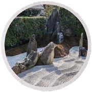 Zen Garden, Kyoto Japan 2 Round Beach Towel