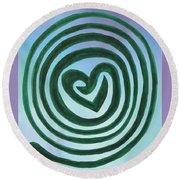 Zen Heart Labyrinth Sky Round Beach Towel