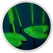 Zen Photography Green  Round Beach Towel