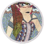 Zentangle Queen  Round Beach Towel