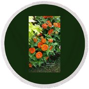 Zesty Zinnias Round Beach Towel